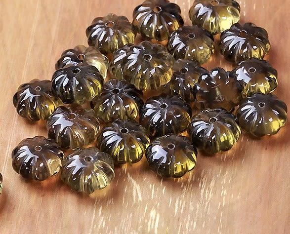 [協貿國際]天然茶水晶南瓜形散珠戒面DIY手工飾品配件(10入價)
