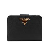 【PRADA】浮雕logo防刮拉鍊釦式零錢短夾(黑色) 1ML018 QWA F0002