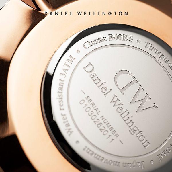 DW 手錶 官方旗艦店 36mm玫瑰金框 Classic 活潑藍粉織紋手錶 - Daniel Wellington