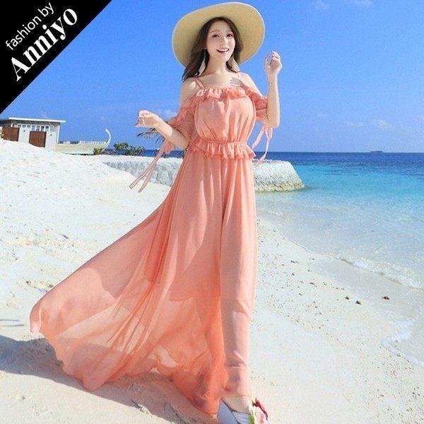 Anniyo安妞‧春夏細肩帶露肩袖綁帶木耳邊雪紡高腰顯瘦波西米亞海邊度假沙灘裙長裙長洋裝 橘粉色
