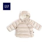 Gap女嬰兒 童趣熊耳絎縫保暖外套 473955-香檳色