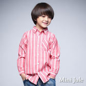 《Mini Jule 童裝》襯衫 粗細直紋單口袋長袖襯衫(紅)