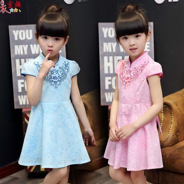 衣童趣 ♥中大女童 中國風連身洋裝 氣質復古風旗袍 舞檯 表演連身裙