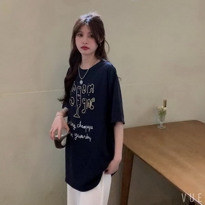 (下殺)彈性棉短袖t恤女中長版【08SG06442】