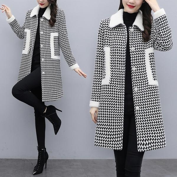 韓版外套M-5XL大碼女裝2020秋冬新款小香風韓版千鳥格仿雪貂絨大衣NC15.965 1號公館
