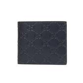 GUCCI  Guccissima對折八卡短夾(黑色)