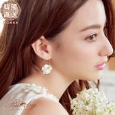 耳環 韓國直送立體花朵水鑽圓圈耳環-Ruby s露比午茶