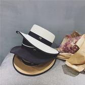 草帽女遮陽帽m標平頂優雅黑色包邊禮帽女英倫拍海邊度假遮陽帽子【快速出貨】