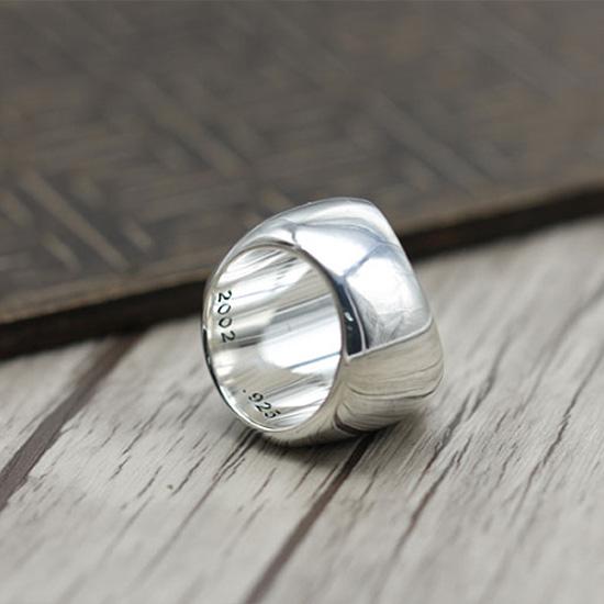 《 QBOX 》FASHION 飾品【SR19N096】精緻個性復古寬版六芒星S925純銀戒指/戒環