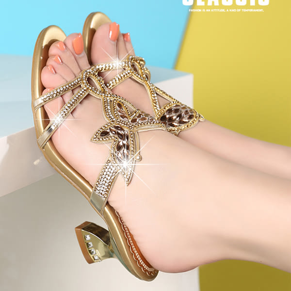 水鑽鑲鑽涼鞋 女低跟一字拖鞋【多多鞋包店】z2324
