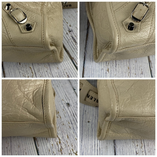 BRAND楓月 BALENCIAGA 巴黎世家 431621 CITY S 奶茶色 銀扣 LOGO 機車包 斜背包