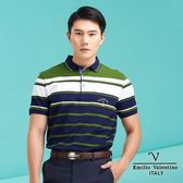 【Emilio Valentino】范倫鐵諾多層次橫條紋休閒polo衫 - 綠/藍條