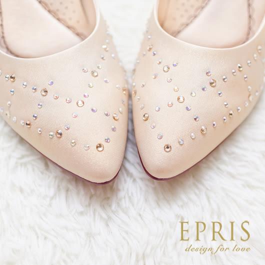 現貨 MIT尖頭鞋小中大尺碼新娘婚鞋推薦 自然女神 水鑽真皮墊腳高跟鞋 21-26 EPRIS艾佩絲-裸金色