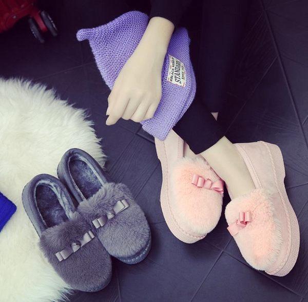 全館83折 豆豆鞋女2018新款韓版厚底鞋子平底毛毛百搭休閒棉鞋女冬外穿加絨