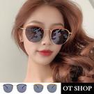 OT SHOP [現貨] 太陽眼鏡 墨鏡 復古圓框半框金屬拼接膠框 抗UV400 情侶款 黑框灰片/橘框灰片 U122