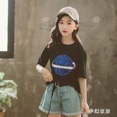 女童短袖t恤2019夏裝新款純棉中大童韓版時髦洋氣短袖上衣體恤潮 qf25179【夢幻家居】