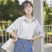 新款拼色豎條紋短袖雪紡襯衫