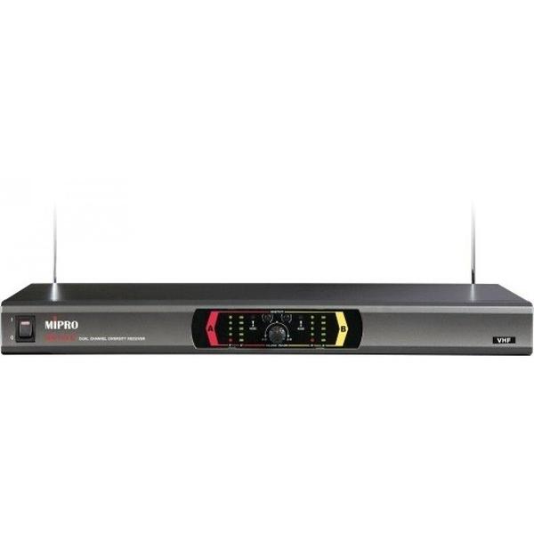MIPRO MR-123 VHF固定頻率雙頻道自動選訊接收機+MH-203a VHF手握式無線麥克風*2
