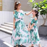 中大尺碼 親子裝2018新款夏裝洋氣長裙親子裝 ZB803『時尚玩家』