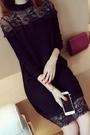 中長款長袖T恤韓版蕾絲顯瘦洋裝