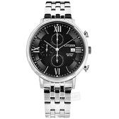 CITIZEN 星辰表 / AN3610-71E / 三眼計時 放射狀錶盤 礦石強化玻璃 日本機芯 不鏽鋼手錶 黑色 41mm