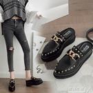 新款半包頭拖鞋女厚底厚底楔形增高網紅尖頭時尚高跟外穿半拖女鞋