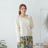 【Tiara Tiara】激安 民俗風鏤空針織長袖上衣(米/黑)