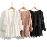 秋冬7折[H2O]全蕾絲高質感中高腰中長版上衣 - 黑/白/粉色 #0655015
