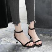低跟涼鞋女一字扣高跟鞋細跟3cm簡約百搭中跟貓跟鞋 晴天時尚館