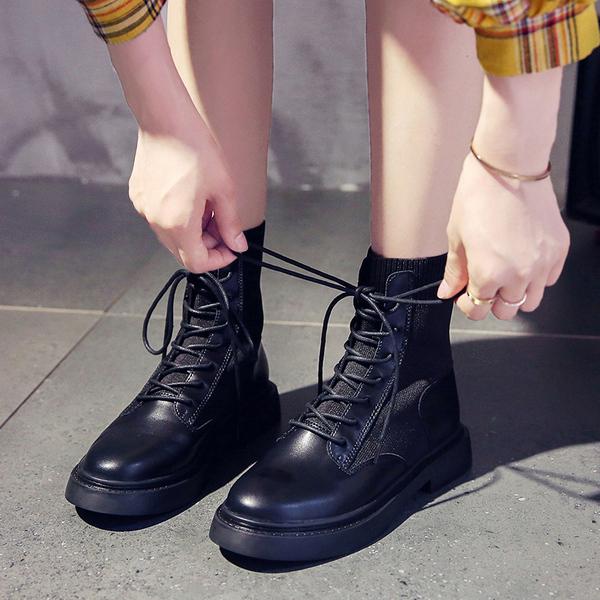馬丁靴女英倫風小短靴2019秋冬新款韓版顯瘦套筒網紅休閒機車靴潮