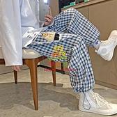 寬管褲 胖m300斤格子闊腿褲女大碼夏季ins高街寬鬆高腰休閒直筒束腳長褲【樂淘淘】