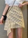 港味設計感高腰不規則格子半身裙女夏天年包臀a字短裙子