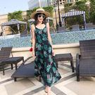 *魔法之城*L27671度假新款露背吊帶裙 波西米亞後背長裙泰國連衣裙