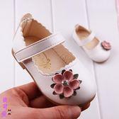 公主鞋 嬰兒鞋0-3歲軟底學步皮鞋女寶花朵鞋