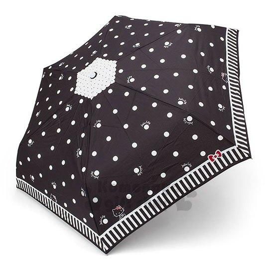 〔小禮堂〕Hello Kitty 變色折疊雨陽傘《黑.愛心滿版》雨傘.折傘.雨具 4901610-63809