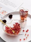 創意愛心金邊玻璃碗心形杯甜品碗
