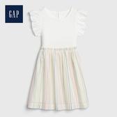 Gap 女幼童 荷葉邊飾圓領洋裝 539813-象牙白