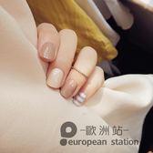 假指甲/短款格紋裸色卡其條紋 日系成品美甲 美甲甲片24片「歐洲站」