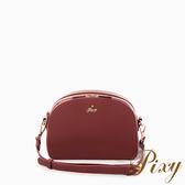 Pixy 古董色調的浪漫多夾層側背包 勃根地紅