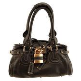 【奢華時尚】秒殺推薦!Chloe 黑色粒面牛皮Paddington鎖頭包(八八成新)#23454