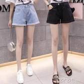 短褲女高腰牛仔短褲女夏新款黑色捲邊破洞寬鬆百搭學生闊腿熱褲春季特賣