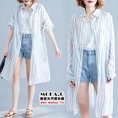 *MoDa.Q中大尺碼*【C891】彩色條紋造型百搭遮陽襯衫外套
