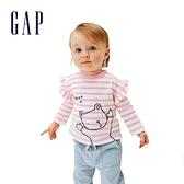 Gap嬰兒 純棉荷葉邊長袖T恤 681771-粉色條紋