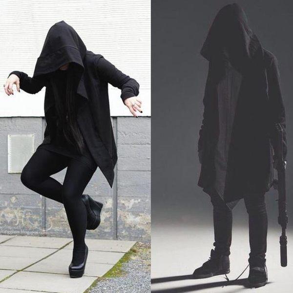 風衣外套春季暗黑系男裝風衣男士中長款連帽開衫巫師斗篷披風大衣外套  SQ10324『寶貝兒童裝』