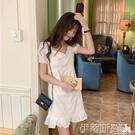 短袖洋裝夏裝韓版小清新修身中長款方領少女白色連身裙短袖荷葉邊仙女裙子 伊蒂斯