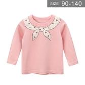 女童長袖T恤。ROUROU童裝。春秋女童中小童純棉假領結印花長袖T恤 上衣 0231-545