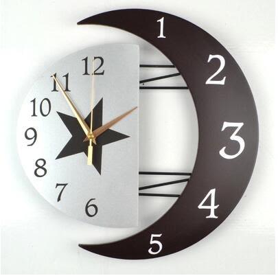 現代裝飾創意掛鐘靜音客廳鐘錶個性簡約掛錶時尚臥室日月石英時鐘 12英吋
