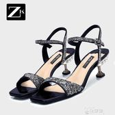 中跟涼鞋ZK夏季新款細跟仙女鞋女式一字帶中跟亮片水鑽魚嘴涼鞋女 【時髦新品】