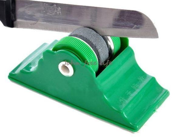 約翰家庭百貨》【AG590】固定式磨刀器 帶底座圓形磨刀石 顏色隨機出貨