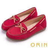 ORIN 樂活渡假 柔軟牛皮透氣帆船鞋-紅色